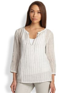 Eileen Fisher Linen Windowpane-Print Top