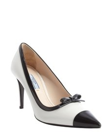 Prada black and white leather bow tie pumps