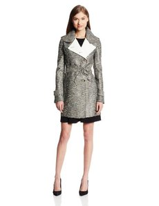 Kenneth Cole New York Women's Color Block Textured Trench Coat