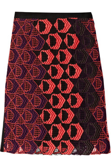 Derek Lam Embroidered cotton-blend macramé pencil skirt