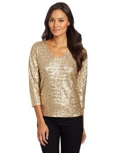 Jones New York Women's Dolman V Neck Top