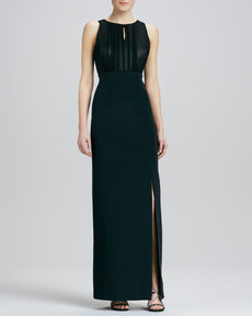 Kay Unger New York Sleeveless Jewel-Neck Gown