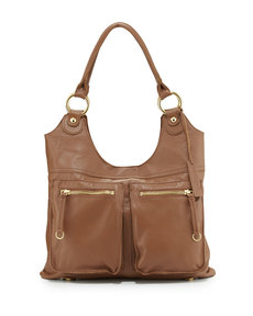 Linea Pelle Dylan Front-Pocket Leather Tote Bag, Coffee Bean