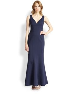 David Meister Seamed V-Neck Gown