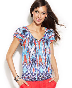 INC International Concepts Printed Flutter-Sleeve Peasant Top