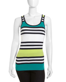 French Connection Jag Striped Tank, Florrie Green