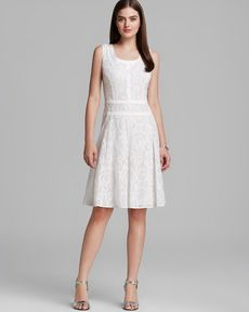 Anne Klein Dress - Sleeveless Jacquard Fit and Flare