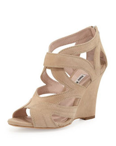 Strappy Suede Wedge Sandal   Strappy Suede Wedge Sandal