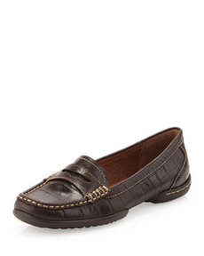 Donald J Pliner Vegga Croc-Embossed Loafer, Brown