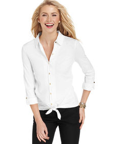 Charter Club Three-Quarter-Sleeve Button-Down Tie-Front Blouse