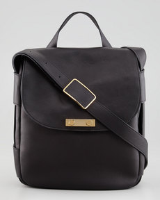 Marni Flap-Top Satchel Bag, Charcoal
