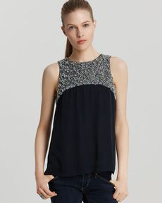French Connection Top - T Moondust Sleeveless Embellished