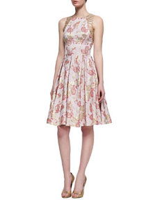 Floral-Print Sleeveless Golden Jacquard Dress, Rose Gold   Floral-Print Sleeveless Golden Jacquard Dress, Rose Gold
