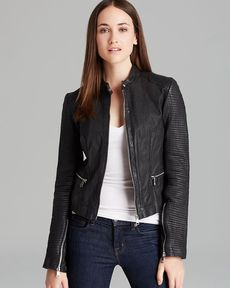 Andrew Marc Leather Coat - Leah Quilted Moto