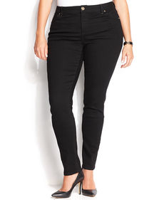 INC International Concepts Plus Size Skinny Jeans, Black Wash