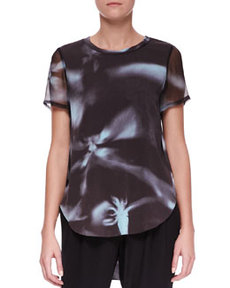 Printed Split-Hem T-Shirt   Printed Split-Hem T-Shirt