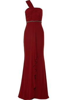 Badgley Mischka Embellished jersey gown