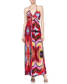 T Bags Swirl Print Tie Dye Braided Halter Maxi Dress