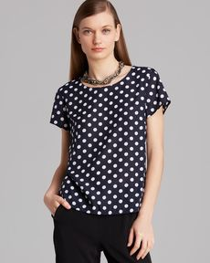 Jones New York Collection Polka Dot Print Top