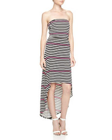 Laundry By Design Strapless Mixed-Stripe High-Low Maxi Dress, Neon Pink