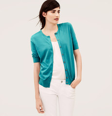 Petite Short Sleeve Pima Cotton Cardigan