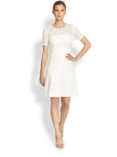 Kay Unger Textured Floral Lace Dress