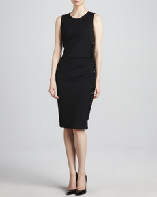 Escada Beaded Side-Zip Sheath Dress, Black