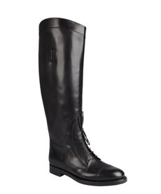 Gucci black leather lace-up tall riding boots