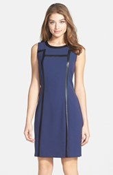 Marc New York by Andrew Marc Faux Leather Trim Sheath Dress (Petite) (Petite)
