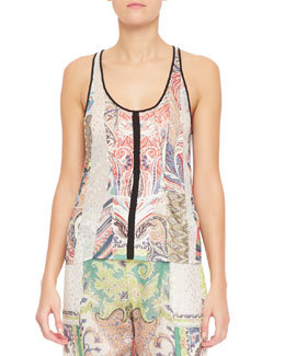Fern Paisley Patchwork Tank Top, White/Multi   Fern Paisley Patchwork Tank Top, White/Multi