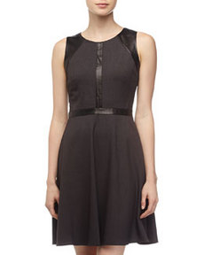 Laundry by Shelli Segal Faux Leather Skater Dress, Dark Charcoal