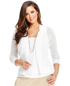 Jones New York Collection Plus Size Pointelle Open-Front Cardigan