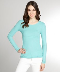 Three Dots menthe ribbed jeresy long sleeve crewneck top