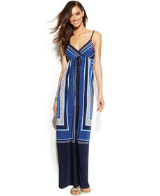 INC International Concepts Surplice-Neck Printed Maxi Dress