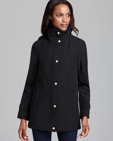Ellen Tracy Rain Jacket - Soft Shell Snap Front