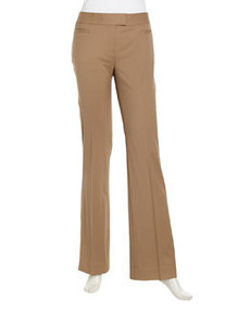 Lafayette 148 New York Sullivan Stretch Wool Straight-Leg Pants, Chai