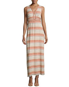 Max Studio Knot-Detail Striped Maxi Dress, Toast/Orange