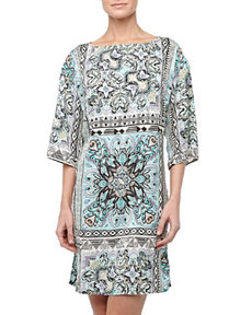 Laundry by Shelli Segal Bohemian-Scarf Kimono Dress, Blue/Multicolor