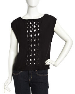 L.A.M.B. Sleeveless Cable Knit Sweater, Black