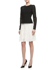 JASON WU Long-Sleeve Pleated-Hem Combo Dress