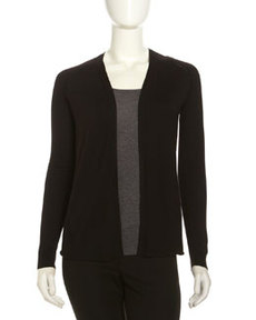 Lafayette 148 New York Crochet-Seam Open Cardigan, Black