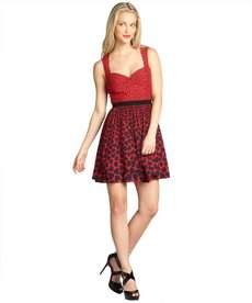 A.B.S. by Allen Schwartz red sleeveless polka dot and heart print day dress