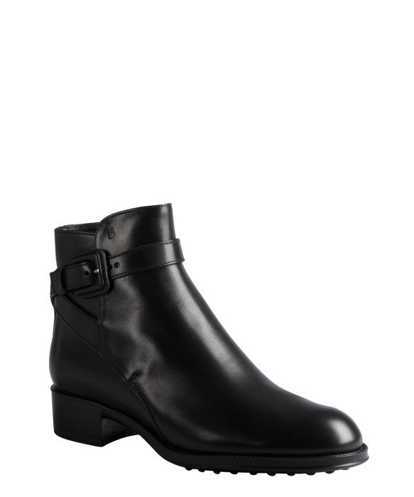 Tod's black leather buckle ankle boots