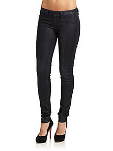 Saks Fifth Avenue GRAY Coated Snake-Embossed Skinny Jeans