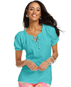Charter Club Petite Top, Short-Sleeve Embroidered Peasant
