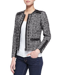 Long-Sleeve Tweed Jacket with Leather Trim, Black   Long-Sleeve Tweed Jacket with Leather Trim, Black