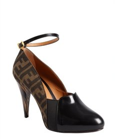 Fendi tobacco and black zucca canvas 'Vamp' ankle strap loafer platform pumps