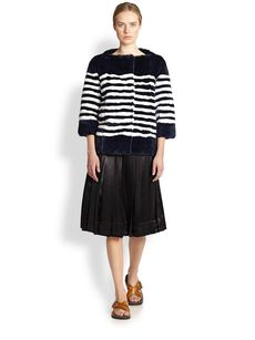 Marc Jacobs Pleated Satin Skirt