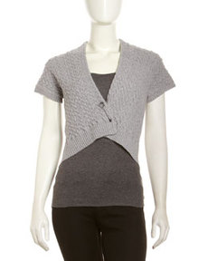 Lafayette 148 New York Felted-Wool Cable-Braid Sweater, Nickel