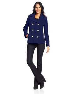 Kenneth Cole New York Women's Zipper-Pocket Peacoat